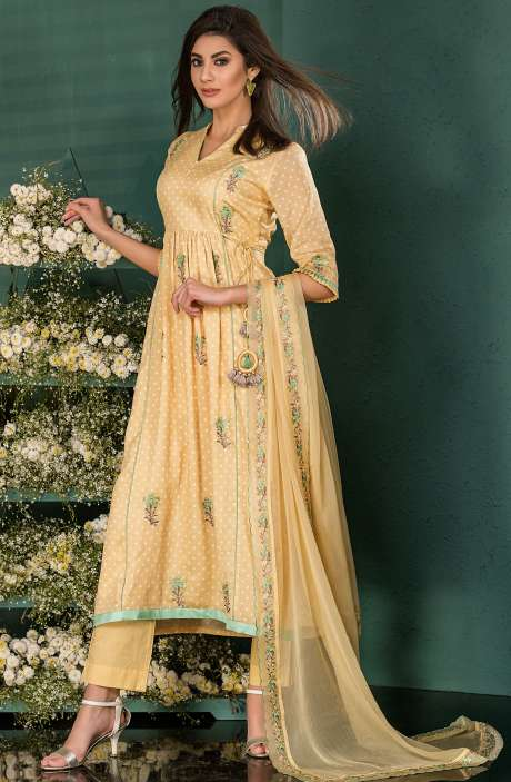 Yellow Cotton Digital Print Salwar Kameez with Beautiful Floral Embrodery - SAI2531