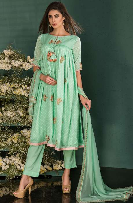 Green Cotton Digital Print Salwar Kameez with Beautiful Floral Embrodery - SAI2532