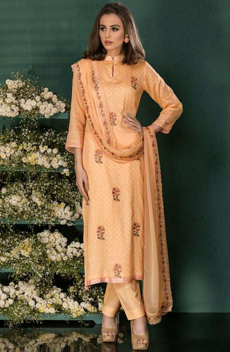 Orange Cotton Digital Print Salwar Kameez with Beautiful Floral Embrodery - SAI2534