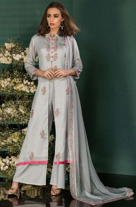 Grey Cotton Digital Print Salwar Kameez with Beautiful Floral Embrodery - SAI2535