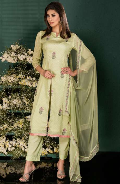 Lime Cotton Digital Print Salwar Kameez with Beautiful Floral Embrodery - SAI2536