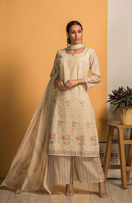 Cotton Beautiful Embroidery with Printed Salwar Kameez In Pista Green - SAJ2608