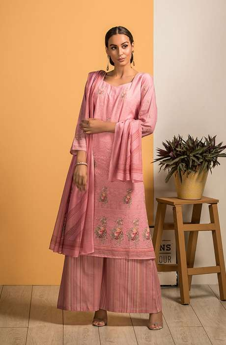 Cotton Beautiful Embroidery with Printed Salwar Kameez In Pink - SAJ2609