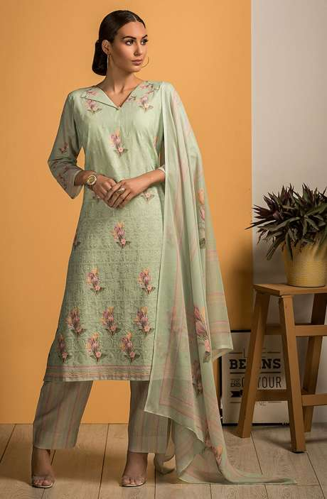 Cotton Beautiful Embroidery with Printed Salwar Kameez In Green - SAJ2610