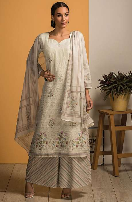 Cotton Beautiful Embroidery with Printed Salwar Kameez In Light Green - SAJ2612