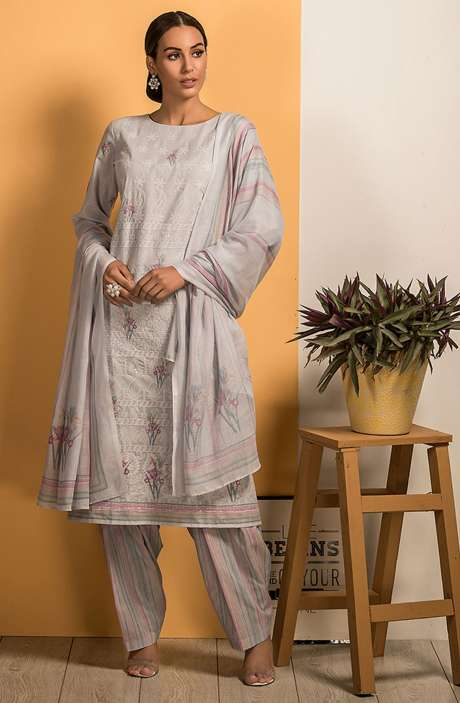 Cotton Beautiful Embroidery with Printed Salwar Kameez In Grey - SAJ2613