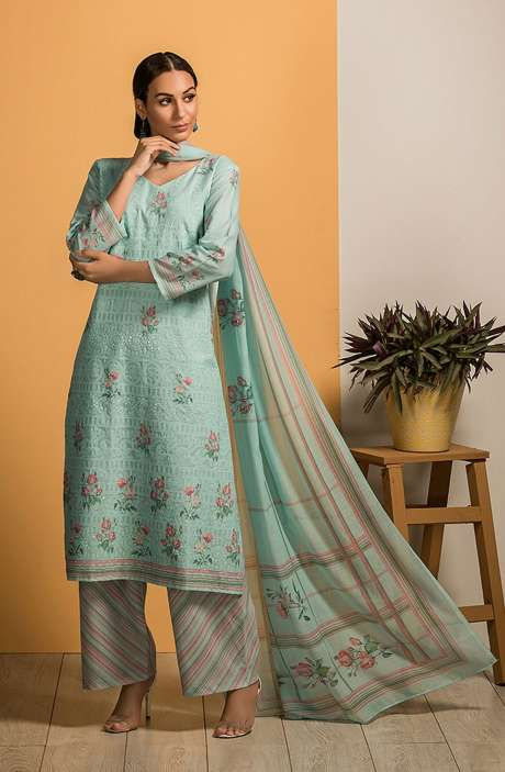 Cotton Beautiful Embroidery with Printed Salwar Kameez In Sea Green - SAJ2614