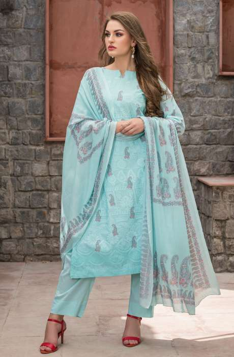 Cotton Floral Digital Print Sea Green Unstitched Salwar Kameez with Embroidery - SAK1147
