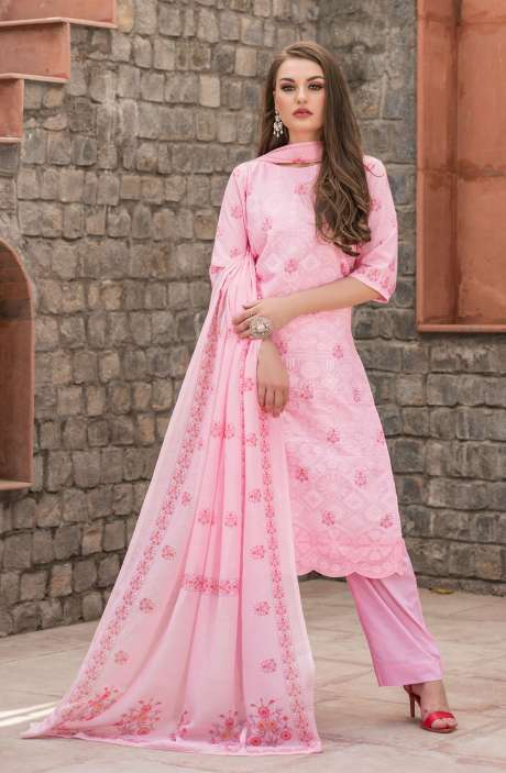 Cotton Floral Digital Print Pink Unstitched Salwar Kameez with Embroidery - SAK1148