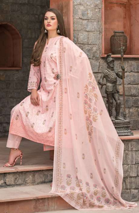 Cotton Floral Digital Print Peach Unstitched Salwar Kameez with Embroidery - SAK1151