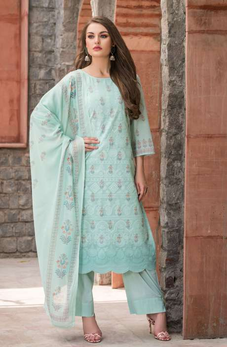 Cotton Floral Digital Print Sea Green Unstitched Salwar Kameez with Embroidery - SAK1152