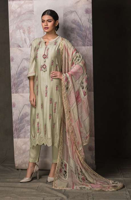 Semi-Stitched Cotton Silk Beautiful Embroidered Exclusive Salwar Kameez In Pista Green - SAN1146