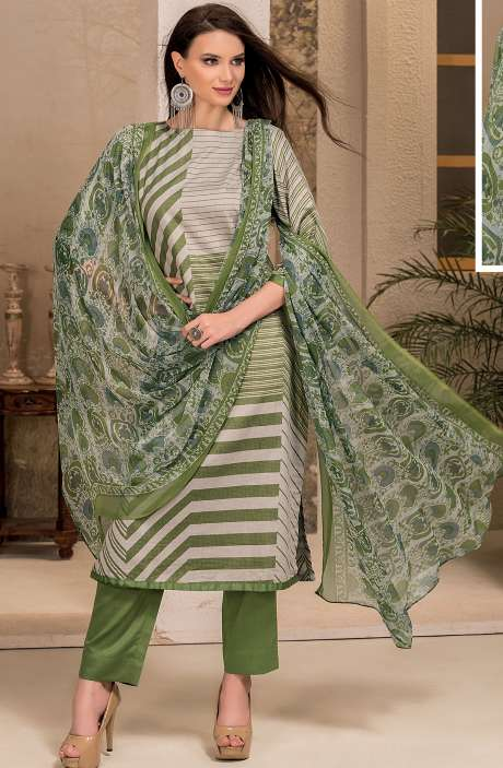Cotton Stripes Printed Unstitched Suit Sets in Grey & Green - SAR1338A