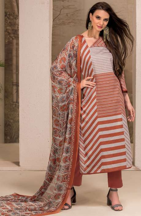 Cotton Stripes Printed Unstitched Suit Sets in Grey & Rust - SAR1338B