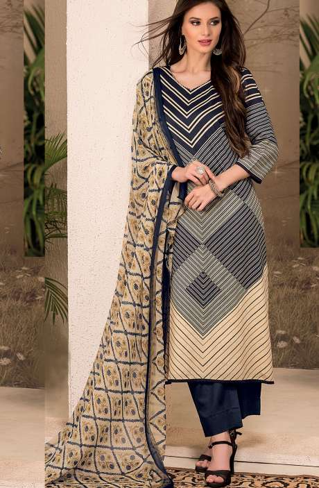 Cotton Stripes Printed Unstitched Suit Sets in Black & Beige - SAR1339A