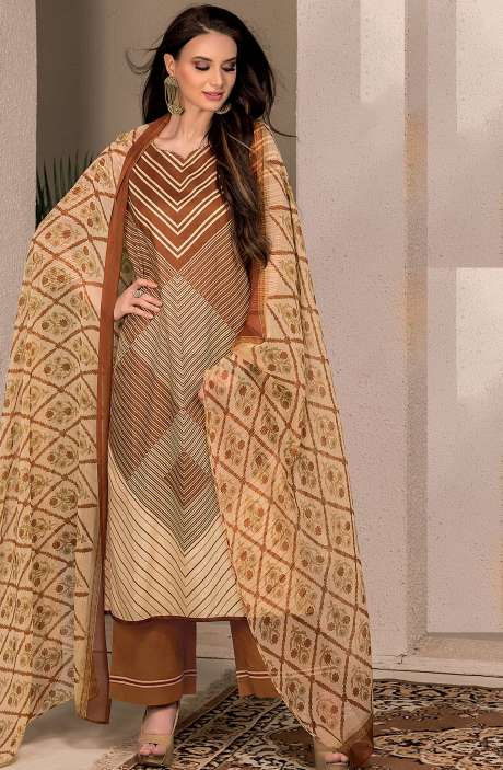 Cotton Stripes Printed Unstitched Suit Sets in Brown & Beige - SAR1339B