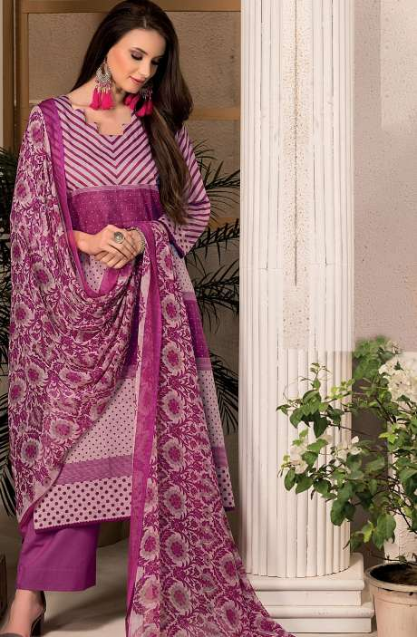 Cotton Stripes Printed Unstitched Suit Sets in Magenta & Light Pink - SAR1340A