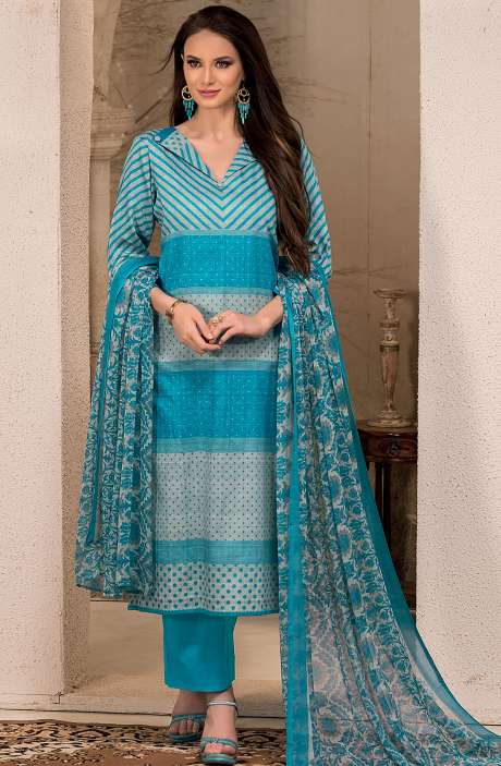 Cotton Stripes Printed Unstitched Suit Sets in Turquoise Blue & Pastel Grey - SAR1340B