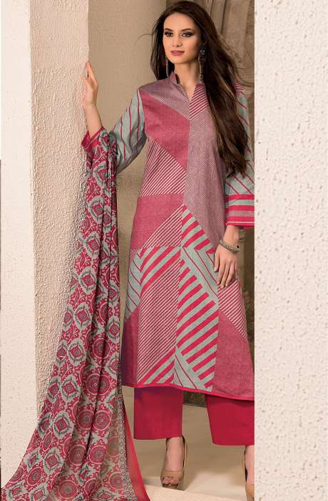 Cotton Stripes Printed Unstitched Suit Sets in Red & Pastel Green - SAR1341A