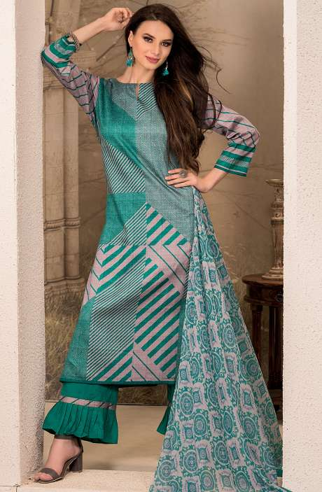 Cotton Stripes Printed Unstitched Suit Sets in Firozi & Grey - SAR1341B
