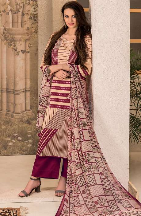 Cotton Stripes Printed Unstitched Suit Sets in Maroon & Beige - SAR1342A