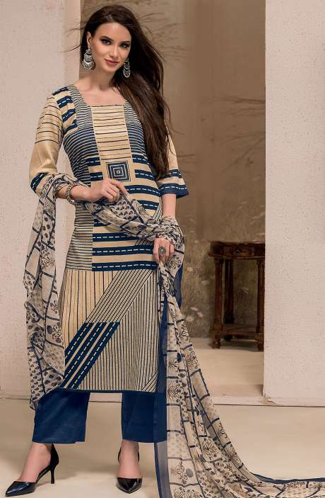 Cotton Stripes Printed Unstitched Suit Sets in Blue & Beige - SAR1342B