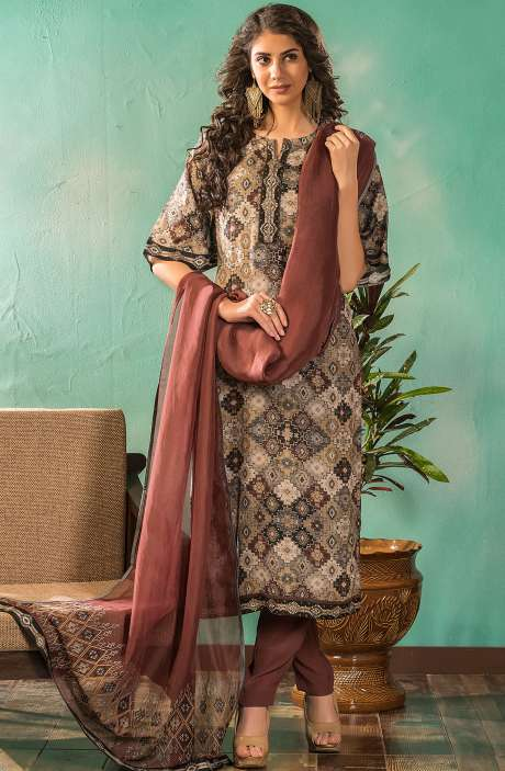 Russian Silk Digital Printed Multi & Coffee Salwar Suit Sets with Embroidery Dupatta - SAR4035