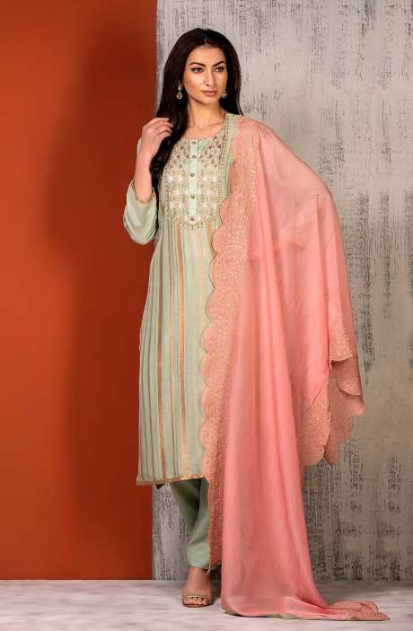 Semi-stitched Exclusive Modal Cotton Designer Salwar Kameez In Sea Green - SAR8493A