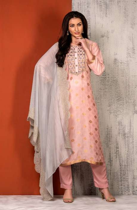 Semi-stitched Exclusive Modal Cotton Designer Salwar Kameez In Peach - SAR8493B