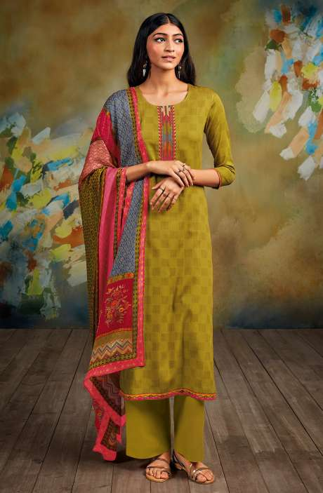 Cotton Printed Salwar Kameez In Mehndi - SAVS0296D