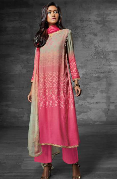 Digital Print Muslin Cotton Suit with Zari Lace and Swarovski Work In Light Green and Pink - SCI6203