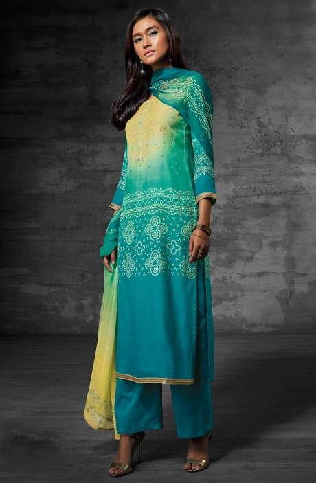 Digital Print Muslin Cotton Suit with Zari Lace and Swarovski Work In Multi-coloured and Blue - SCI6204