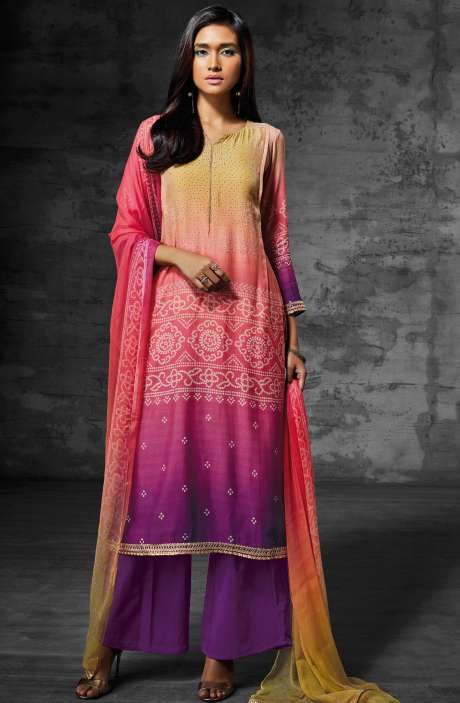 Digital Print Muslin Cotton Suit with Zari Lace and Swarovski Work In Multi-coloured and Purple - SCI6206