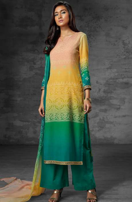 Digital Print Muslin Cotton Suit with Zari Lace and Swarovski Work In Multi-coloured and Green - SCI6208