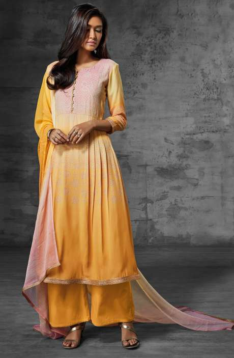 Digital Print Muslin Cotton Suit with Zari Lace and Swarovski Work In Peach and Yellow - SCI6209