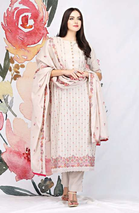 Embroidered Cotton Beige Salwar Suit - SEE1900A