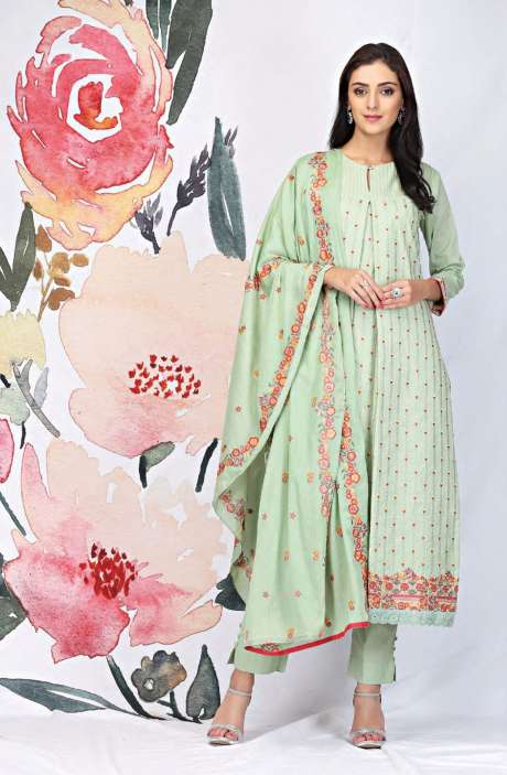 Embroidered Cotton Light Green Salwar Suit - SEE1900B