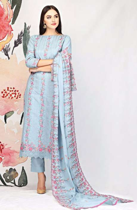 Embroidered Cotton Grey Salwar Suit - SEE1901A