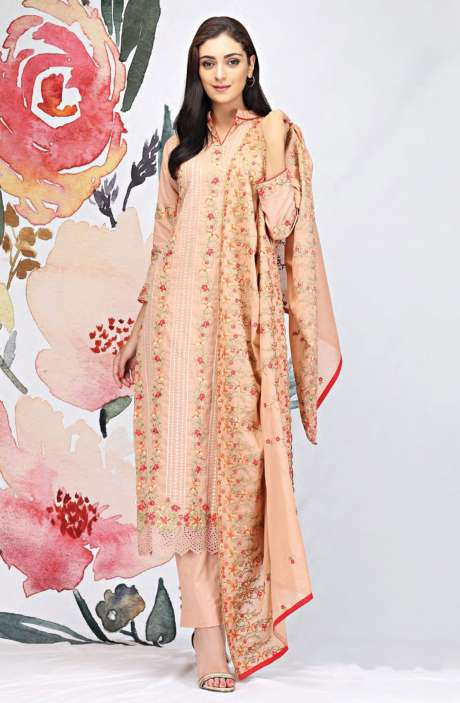 Embroidered Cotton Brown Salwar Suit - SEE1901B