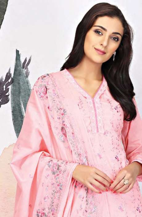 Embroidered Cotton Pink Salwar Suit - SEE1902B