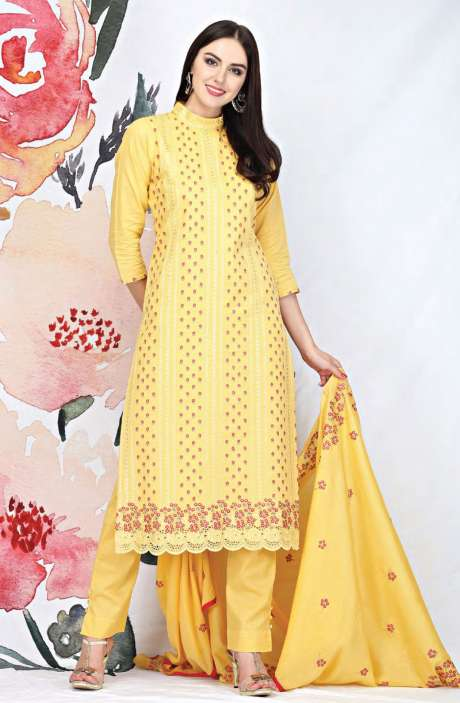 Embroidered Cotton Yellow Salwar Suit - SEE1903A