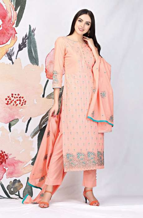 Embroidered Cotton Peach Salwar Suit - SEE1904A