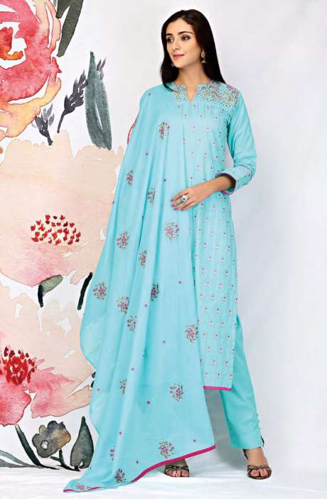 Embroidered Cotton Mint Green Salwar Suit - SEE1904B