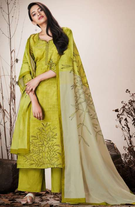 Lime Green Cotton Lawn Printed Unstitched Salwar Suit with Embroidery - SER7516