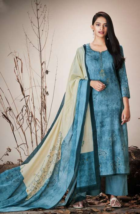 Blue Cotton Lawn Printed Unstitched Salwar Suit with Embroidery - SER7517