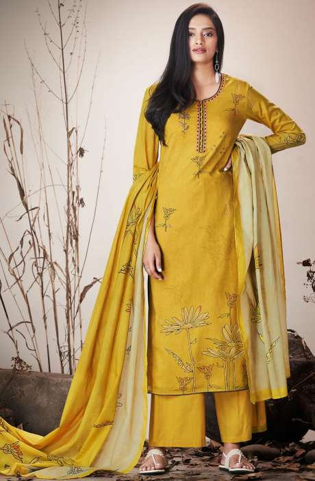 Mehndi Green Cotton Lawn Printed Unstitched Salwar Suit with Embroidery - SER7518