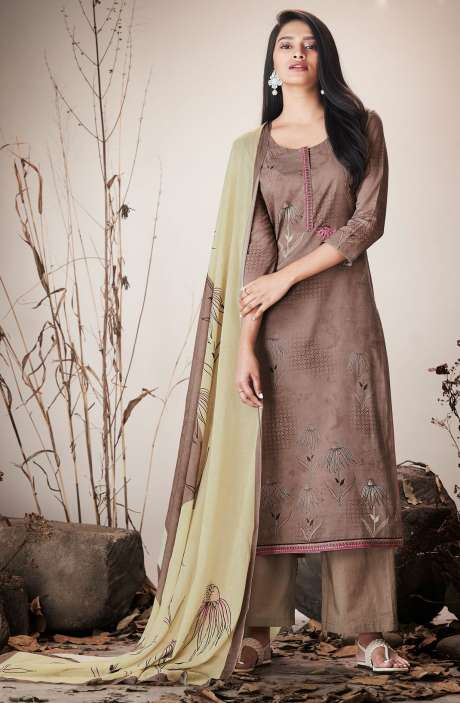 Brown Cotton Lawn Printed Unstitched Salwar Suit with Embroidery - SER7519