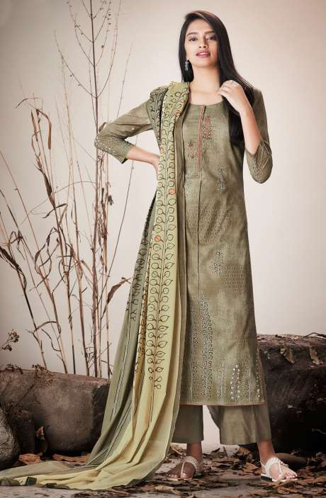 Brown Cotton Lawn Printed Unstitched Salwar Kameez with Embroidery - SER7520