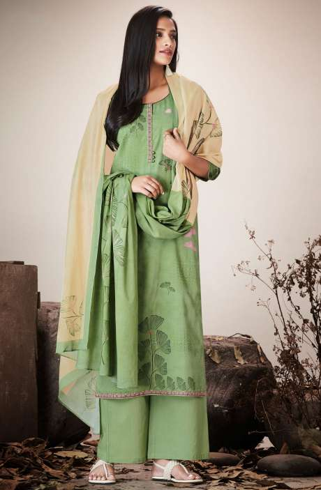 Leaf Green Cotton Lawn Printed Unstitched Salwar Kameez with Embroidery - SER7523