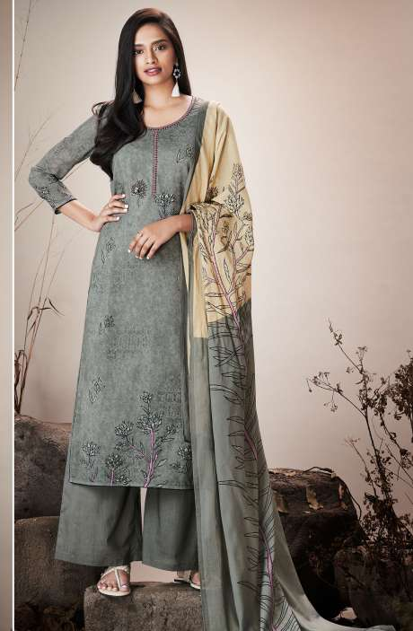 Grey Cotton Lawn Printed Unstitched Salwar Kameez with Embroidery - SER7524